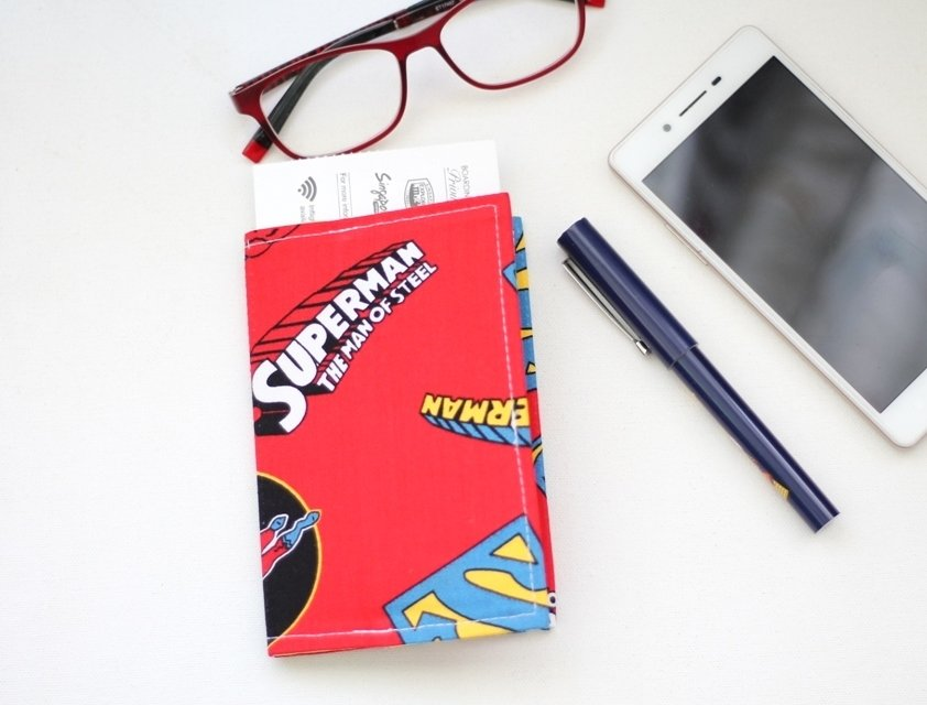 Superman Handmade Passport Cover - Red Passport Holder