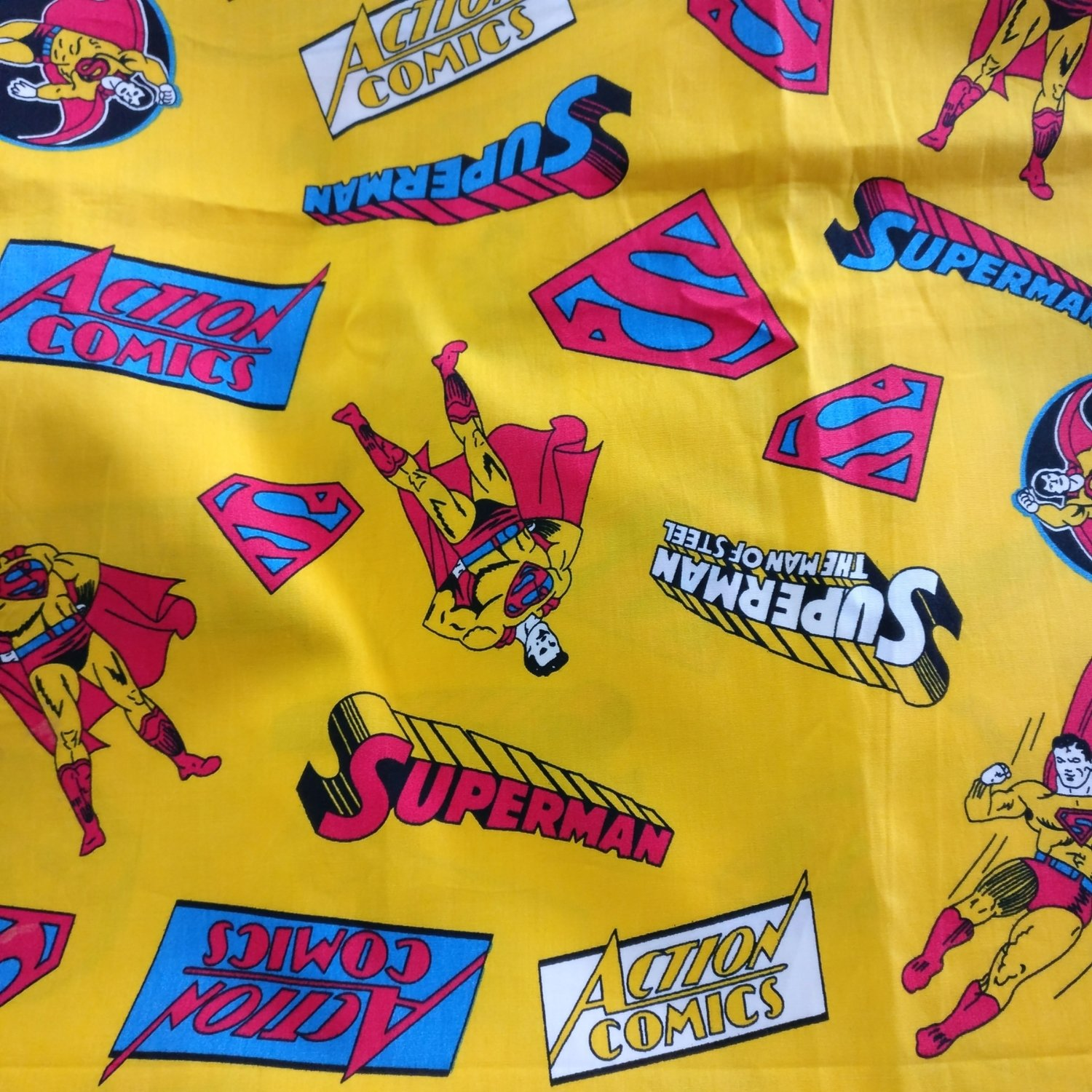 Superman print cotton fabric - wide fabric - sold by half meter