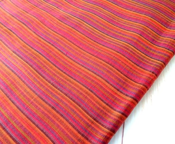 Stripe Brick Color Handloom Dress Material
