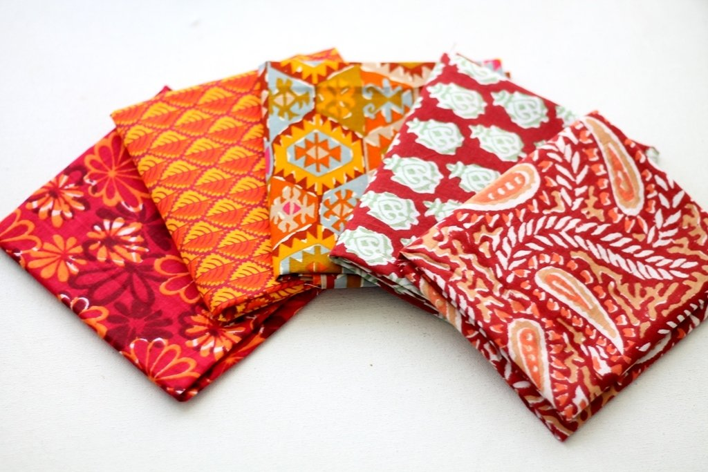 Red orange Fat Quarter Bundle