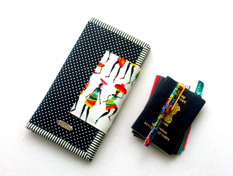 African Women Print Handmade Family Passport Wallet
