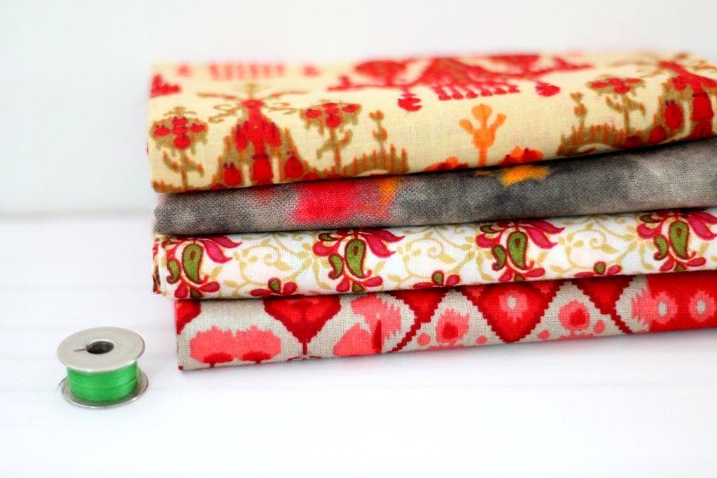 Pink Peach Fat Quarter Bundle - Indian block print cotton fabric