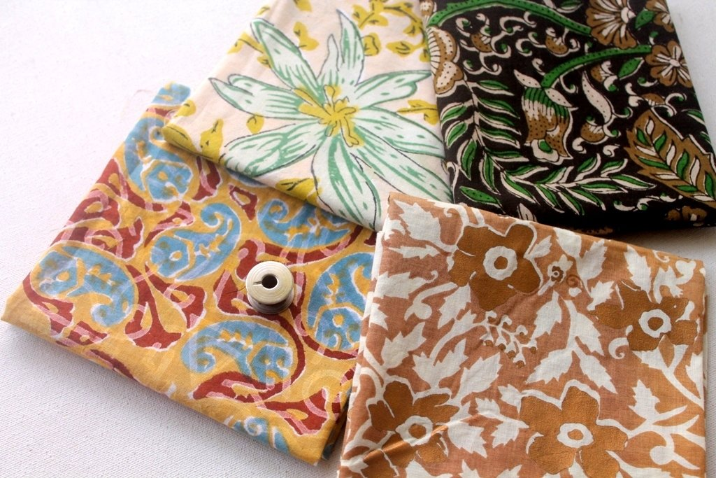 Brown Gold Fat Quarter Bundle - Indian block print cotton fabric - vintage style