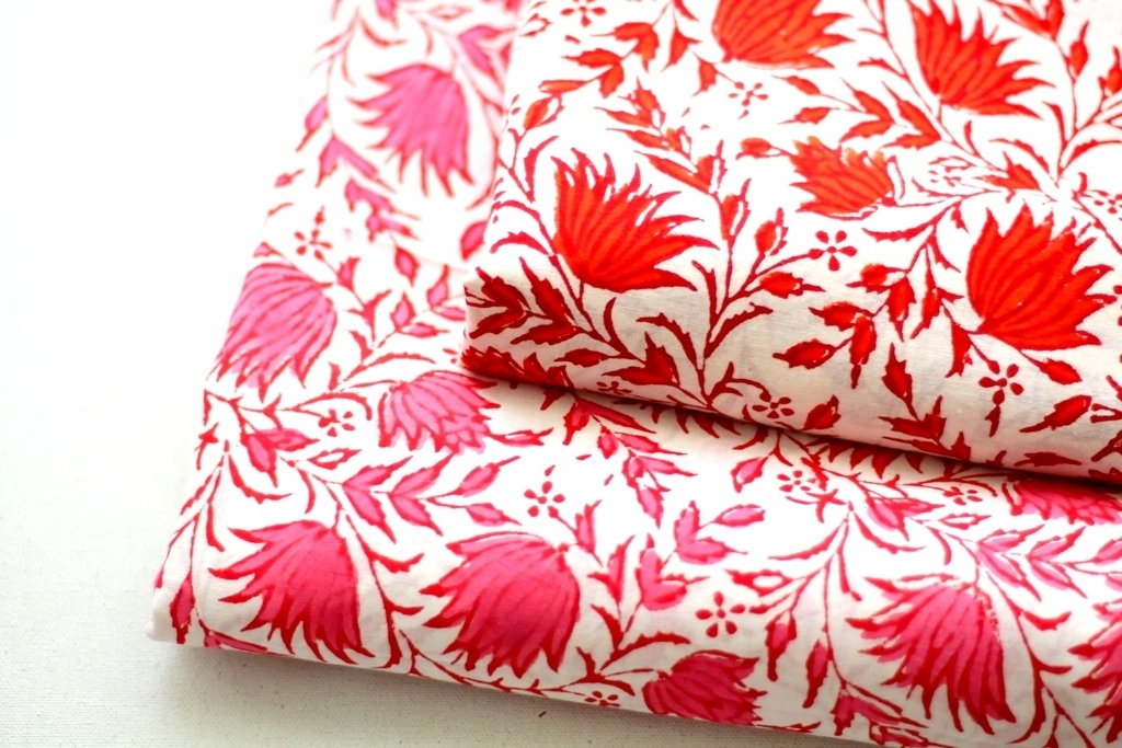 Big floral block print cotton fabric dress material in Red and Pink