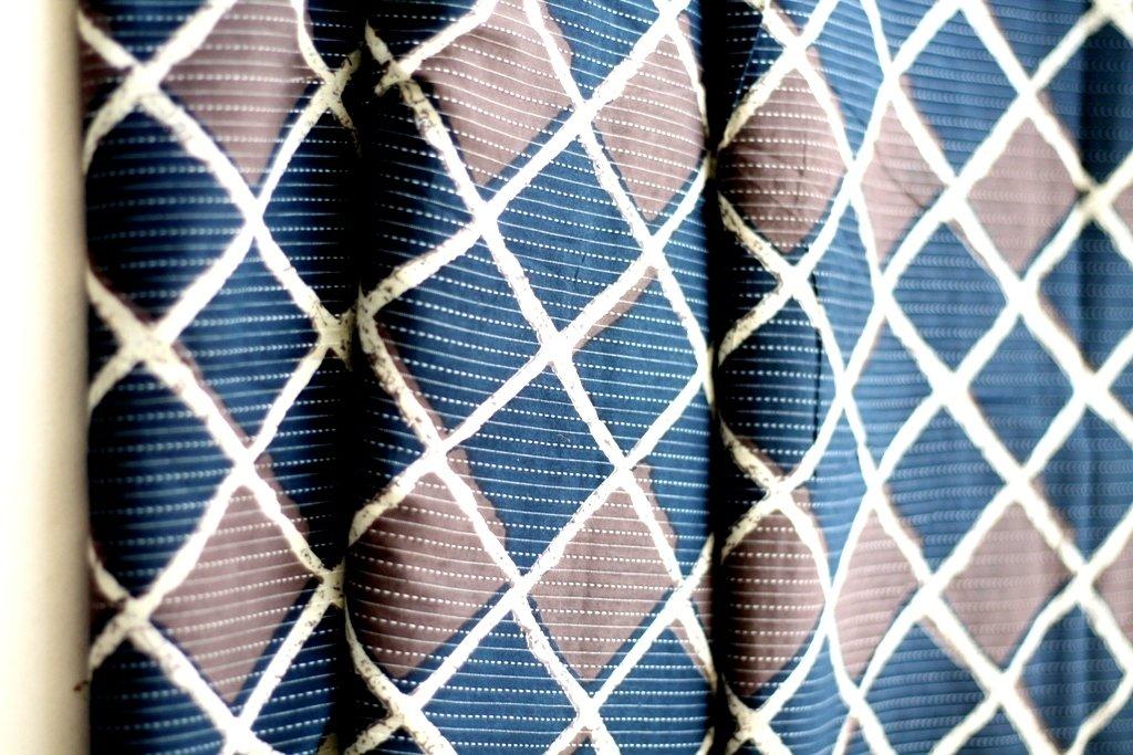 Indigo blue and grey diamond stripe cotton fabric - kantha sashiko style