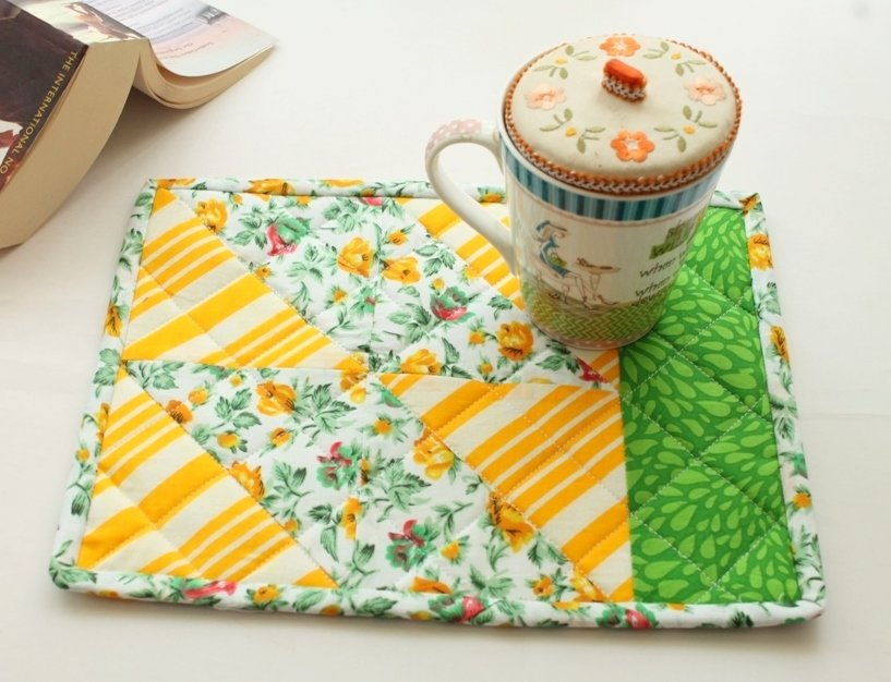 Yellow and Green Quilted Patchwork Mug Rug