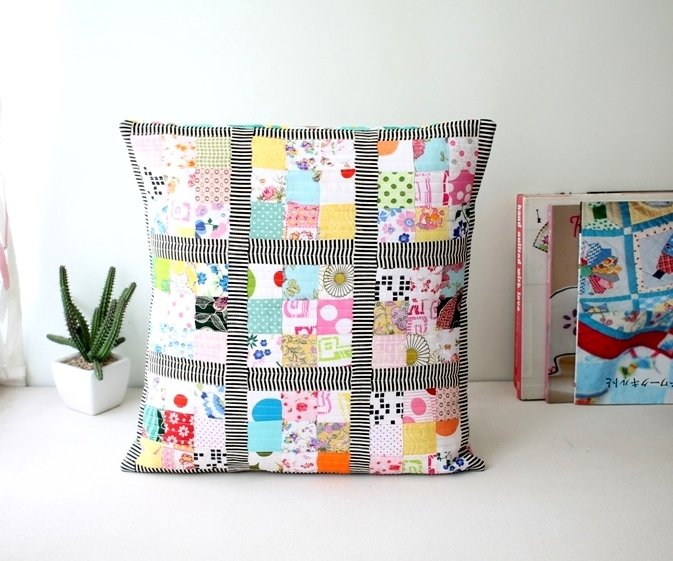 Handmade Scrappy patchwork cushion cover 16 x 16 inches