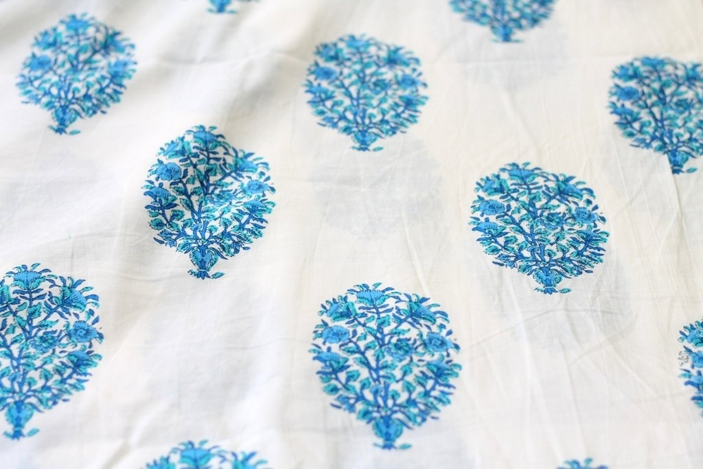 Blue White Indian Floral Fabric, Indian Block Print, Indian cotton, Indian Fabric, big floral print, blue tree print