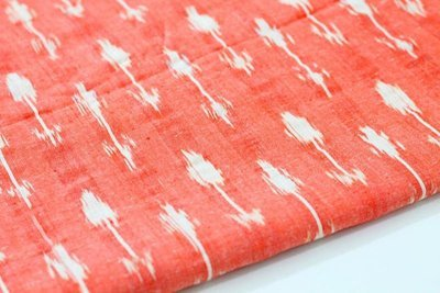 Orange  Ikat Fabric, Hand Woven Ikat cotton fabric