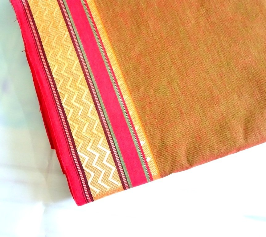Brown  hand woven cotton - shot cotton fabric, brown handloom