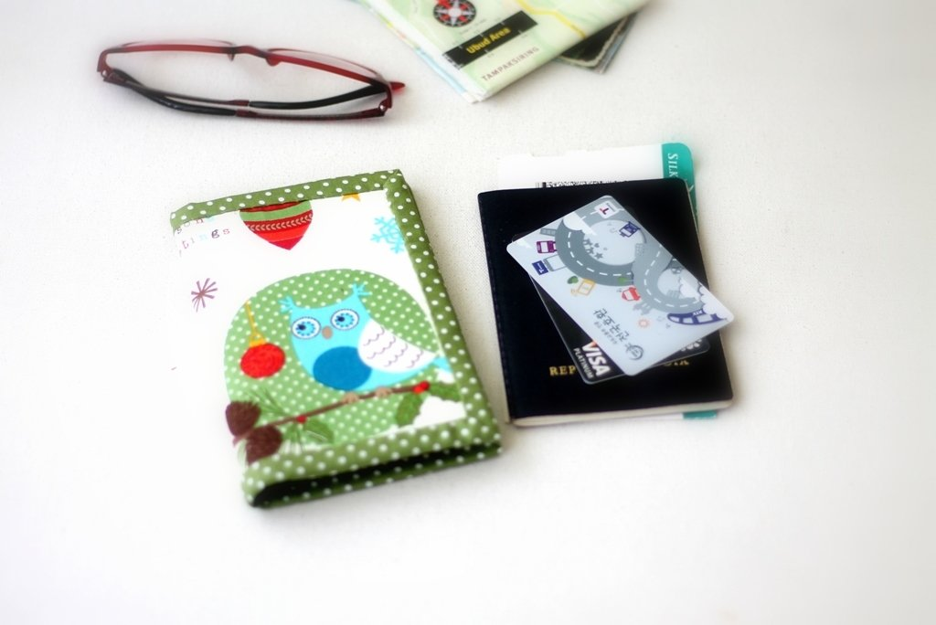 Cute Passports Cover, Handmade custom passport card holder, passport ticket holder, green owl, ready to ship