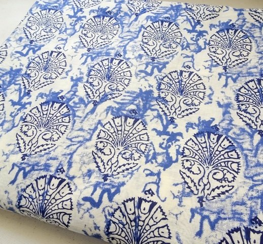 White Indigo blue block print cotton fabric