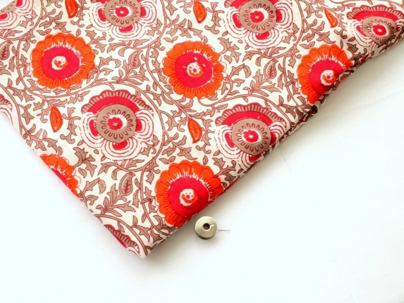 Orange floral Indian cotton fabric big flower block print