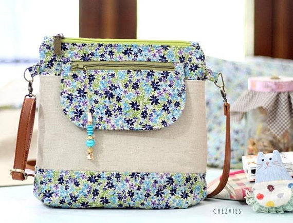 Handmade Travel Sling Bag Linen Floral Crossbody Bag - made to order