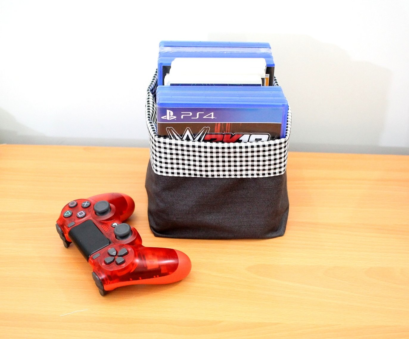 Reversible Fabric Storage for PS4 DVD - Denim Black And White Gingham