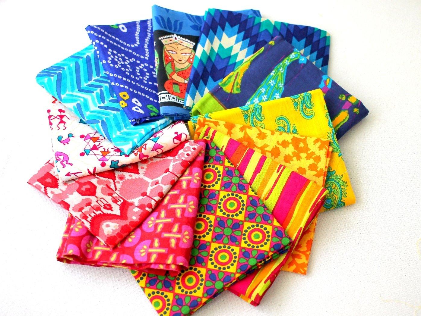 Mix color fat quarter bundle of 12 Indian cotton Fabrics