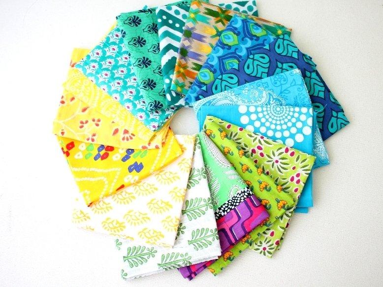 Mix color fat quarter bundle of 16 Indian cotton Fabrics