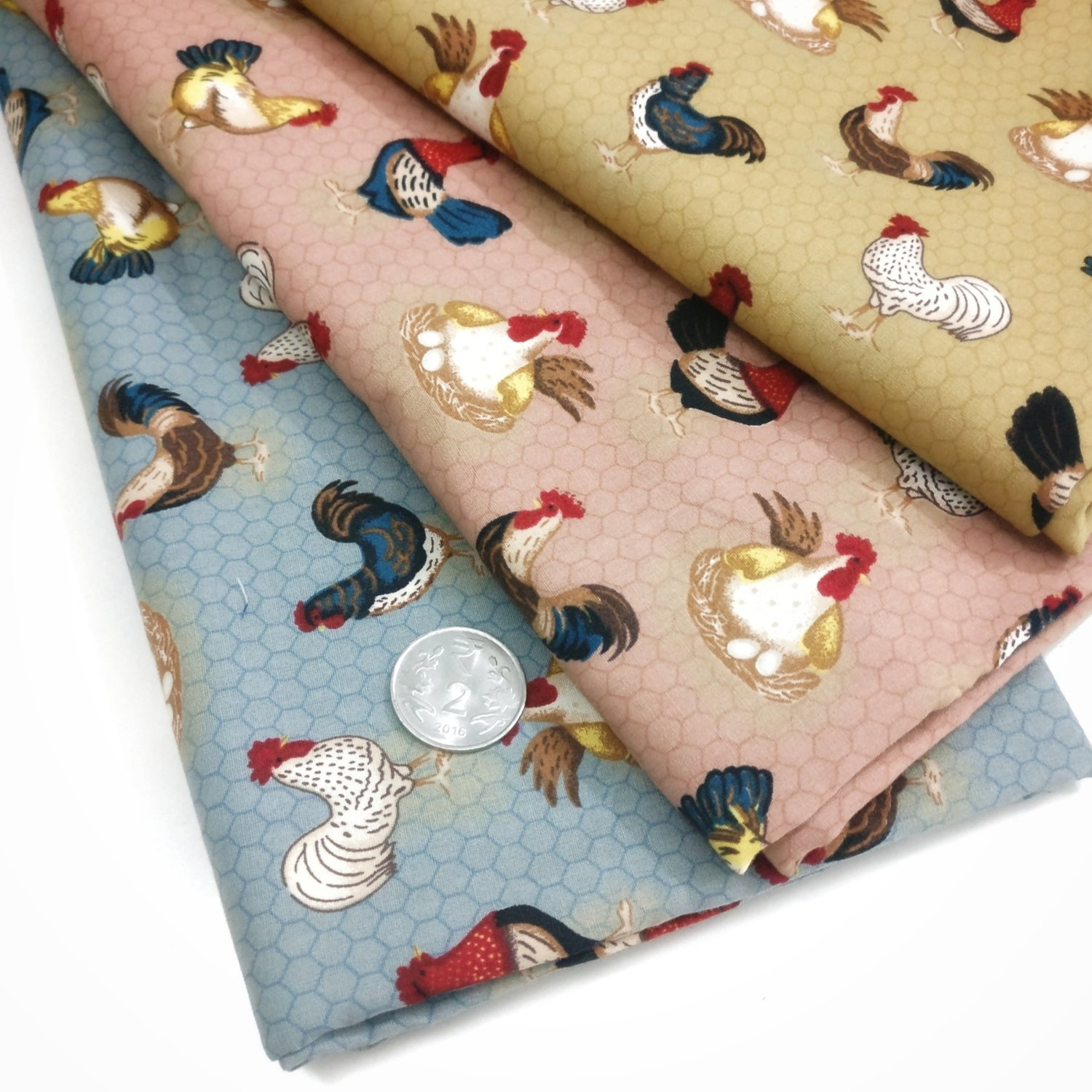 chicken print FQ bundle of 3