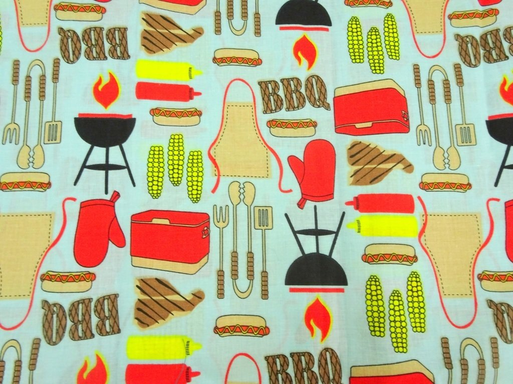 BBQ cooking Theme cotton fabric - sold by half meter