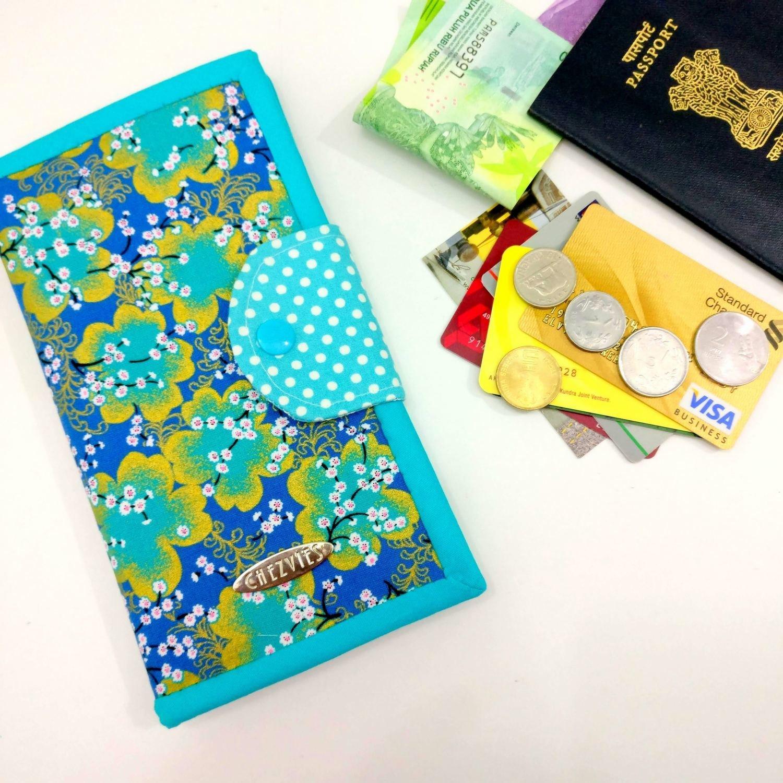 Turquoise Blue Bifold Wallet, sakura fabric minimalist wallet