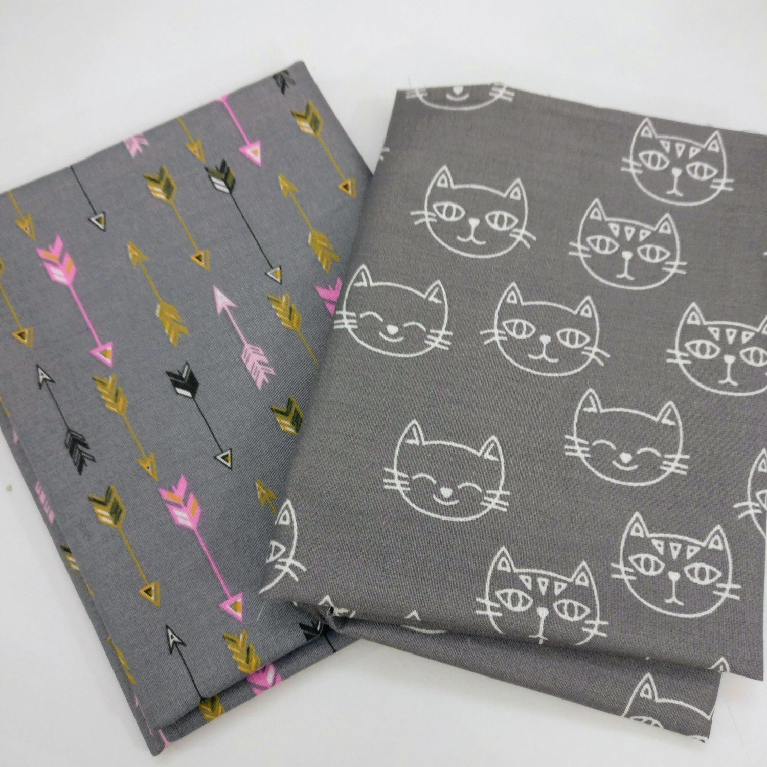 GREY fat Quarter Bundle - arrows and cats