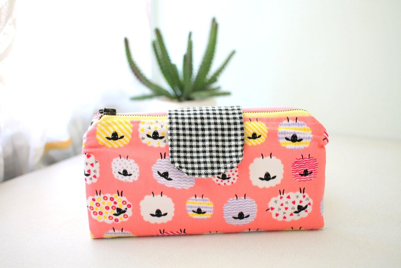 Handmade Double Zipper Wallet - Cute Sheep Print