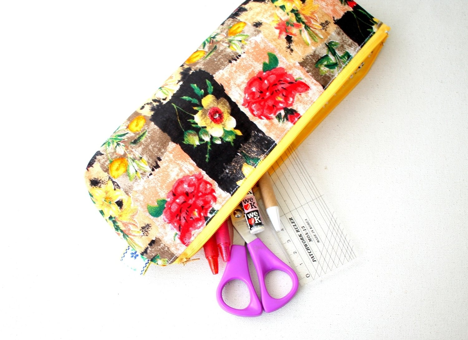 Handmade Floral  Zipper Pouch - Medium Size