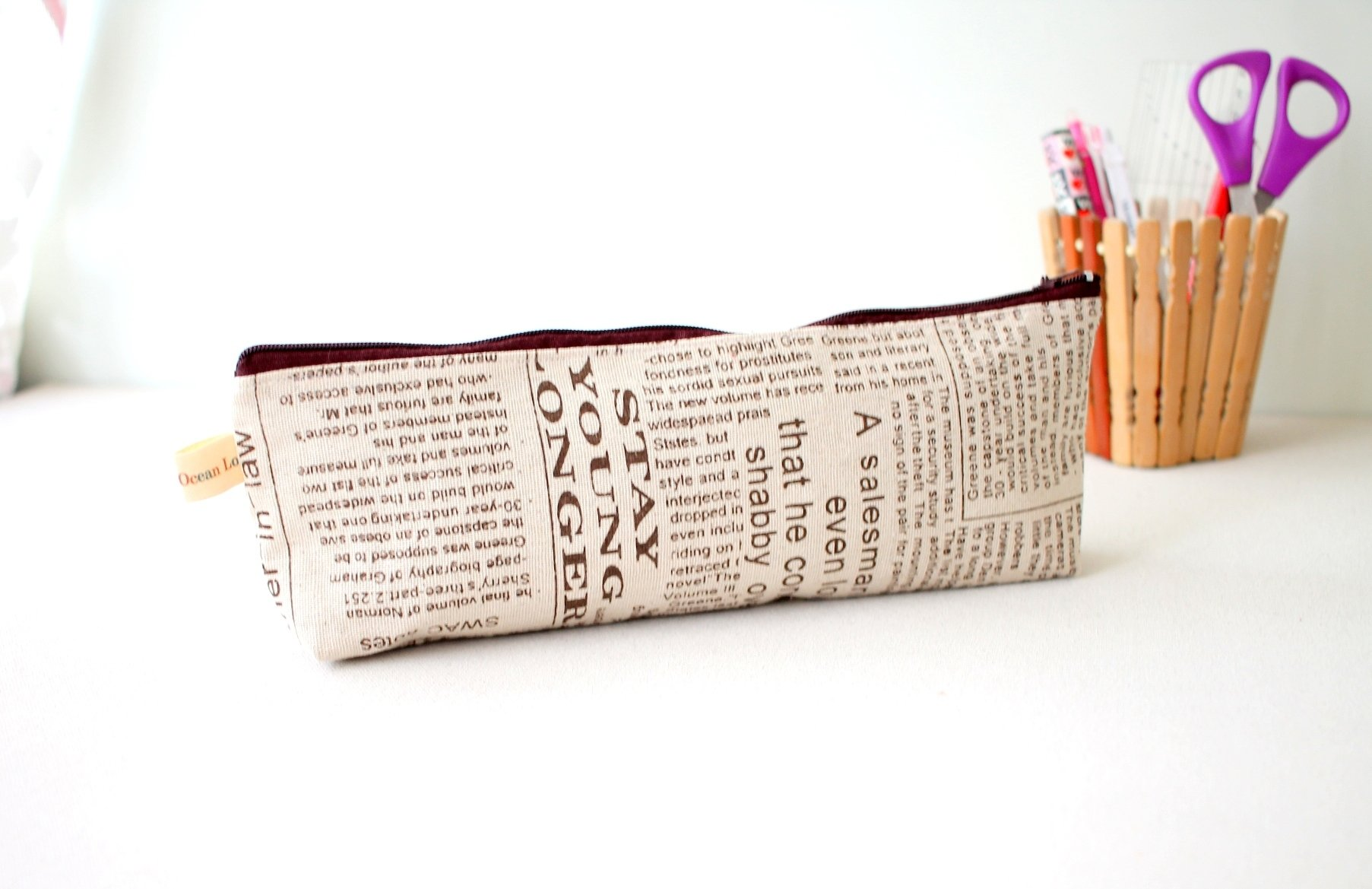 Handmade Newsprint  Zipper Pouch - One of a kind - Medium Size