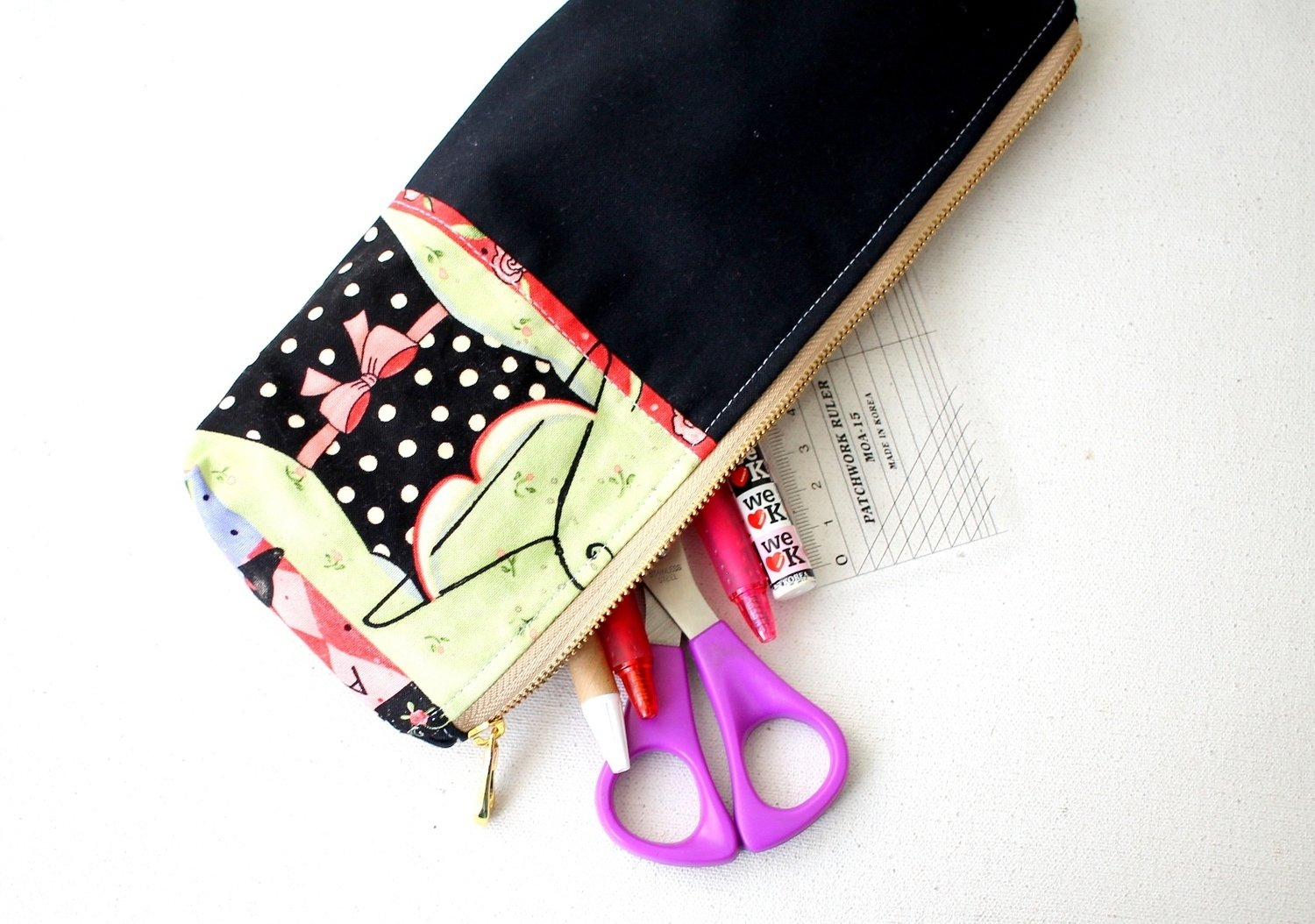 Handmade Little Black Dress Zipper Pouch - One of a kind - Medium Size