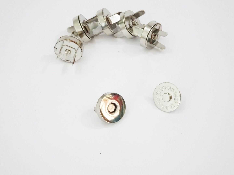 """Set of 10 Magnetic Snap  - 0.75"""" diameter - nickel/silver"""