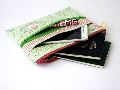 Shabby chic green multi zipper bag, triple zipper pouch