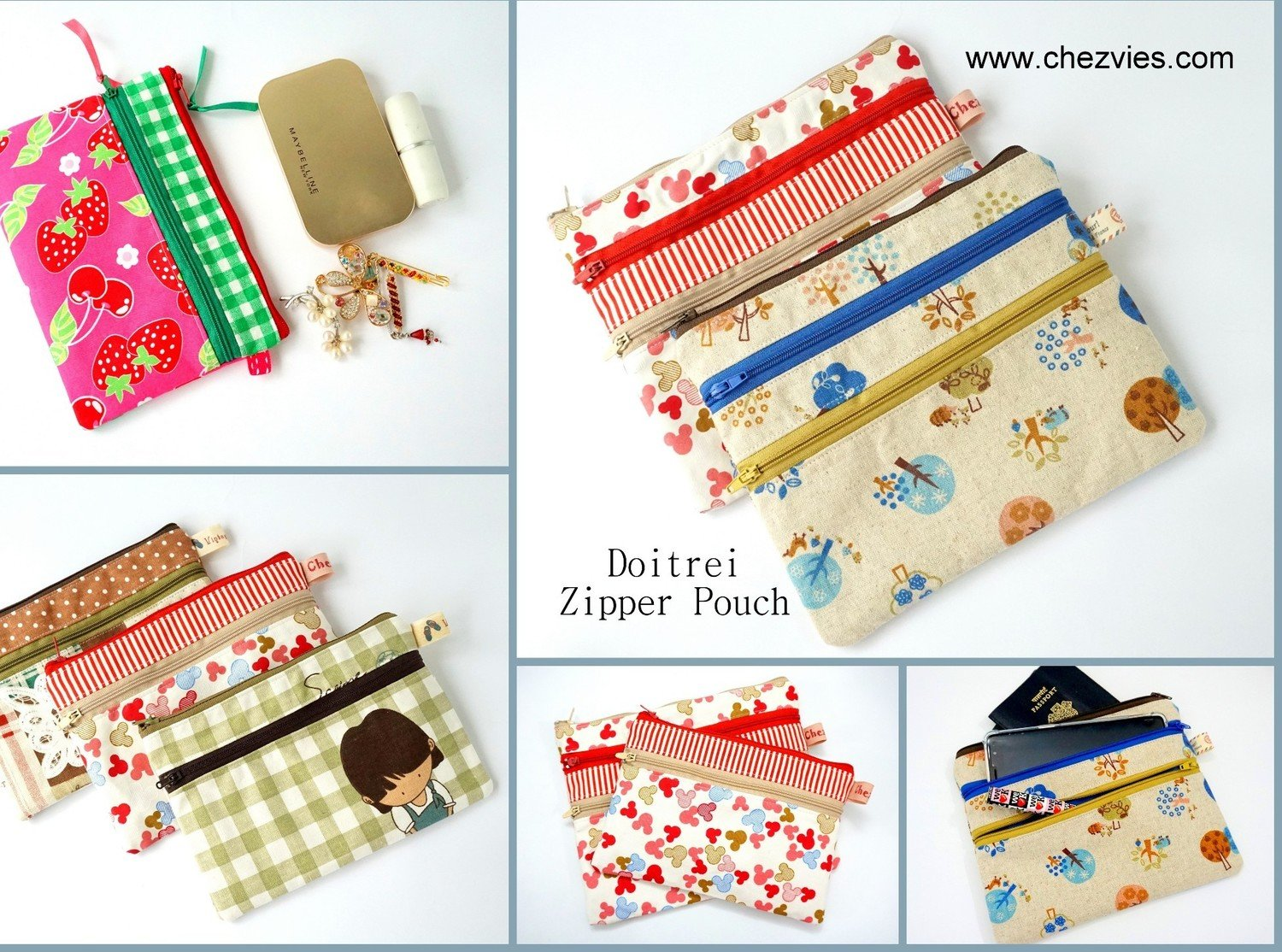 PdF Pattern Doitrei Triple and Double Zipper Pouch