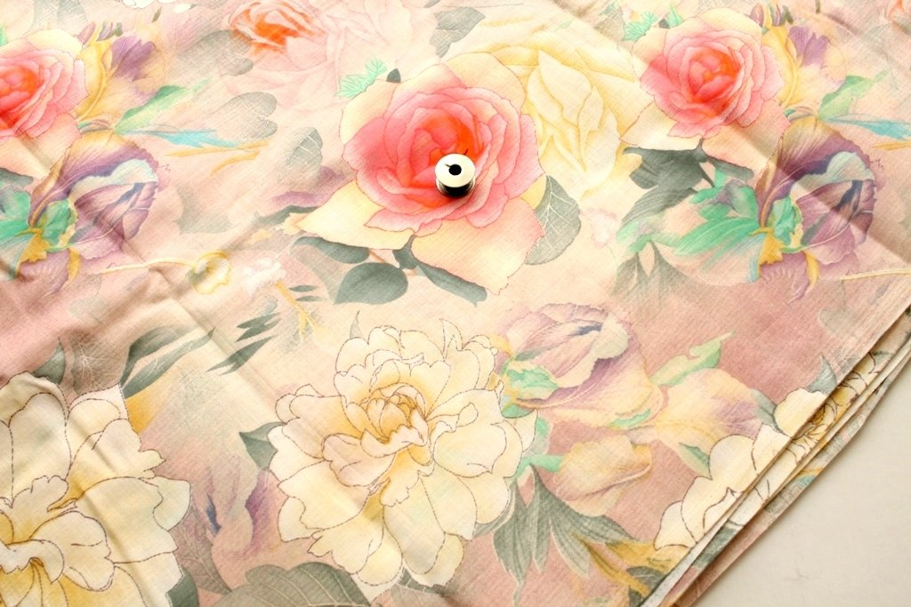 Pretty big floral print, soft color cotton fabric, Pink flower print