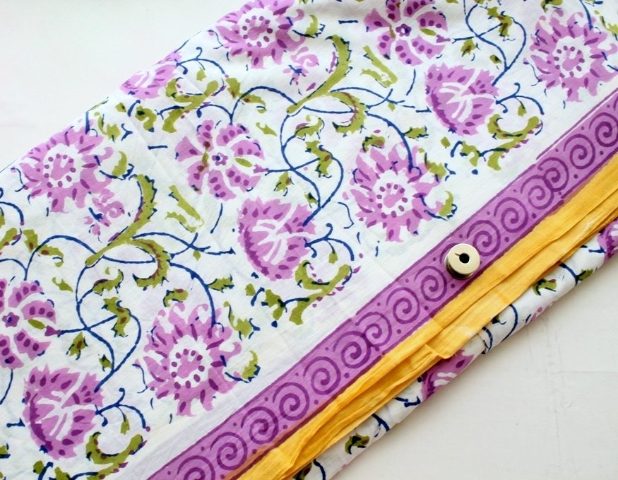 Purple Floral Block Print cotton fabric on  white background