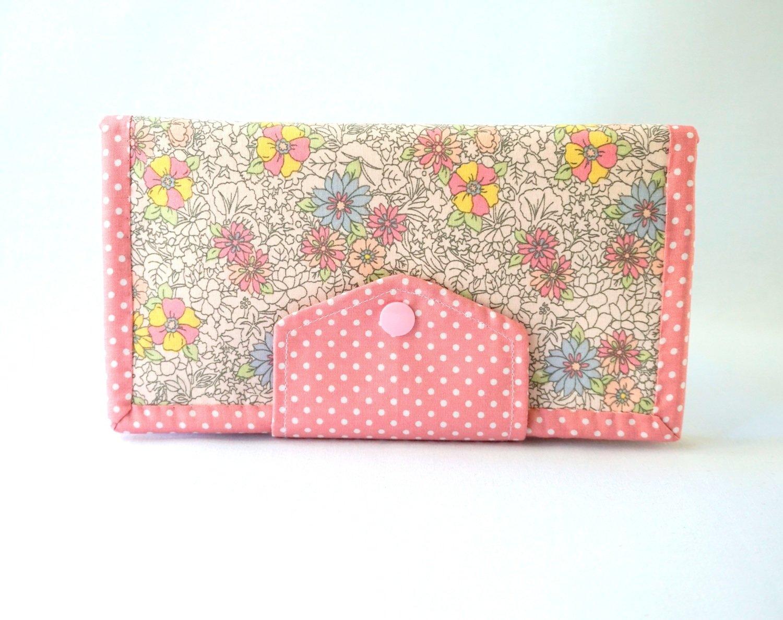 Handmade women's bifold wallet - PInk Flower