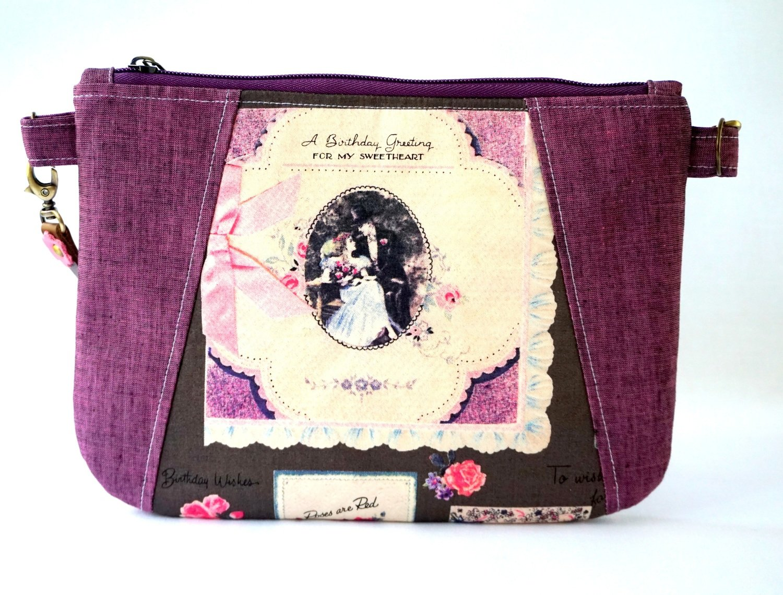 Handmade Wristlet Pouch - Violet Vintage Print