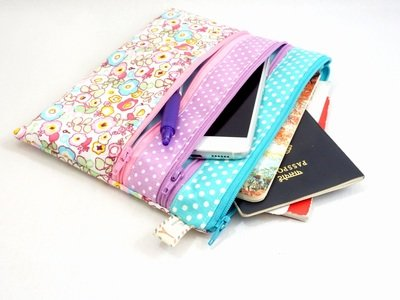 Floral Pink with Purple/Teal Triple Zipper Bag Pouch