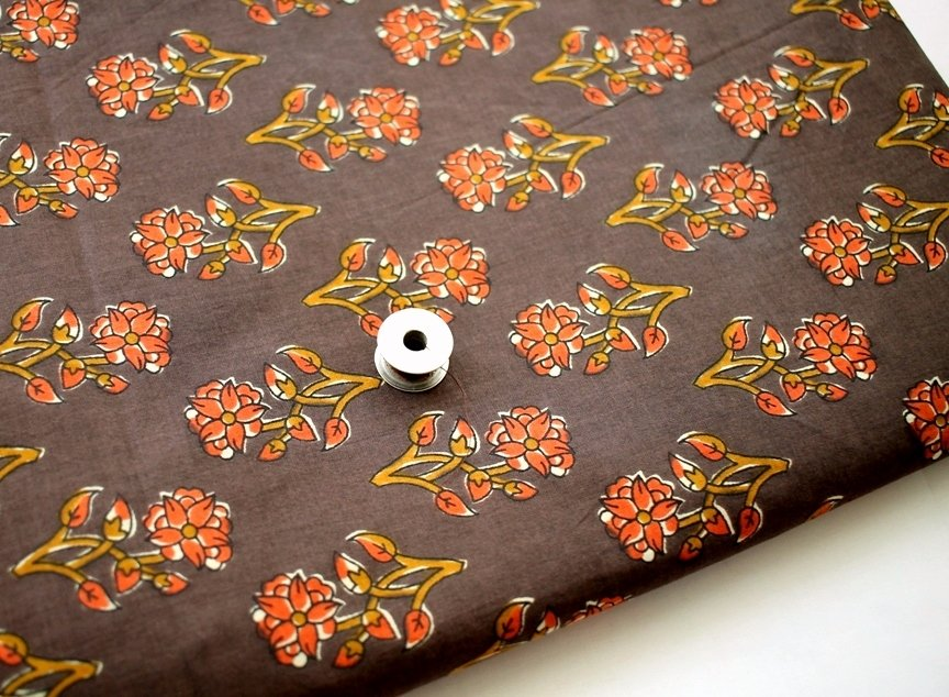 Dark brown Block Printed  Paisley fabric
