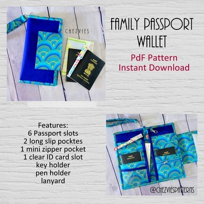 Family Passport Travel Holder PDF SEWING PATTERN, Hold 6 Passports, Instant Download, Family Passport Wallet Pattern