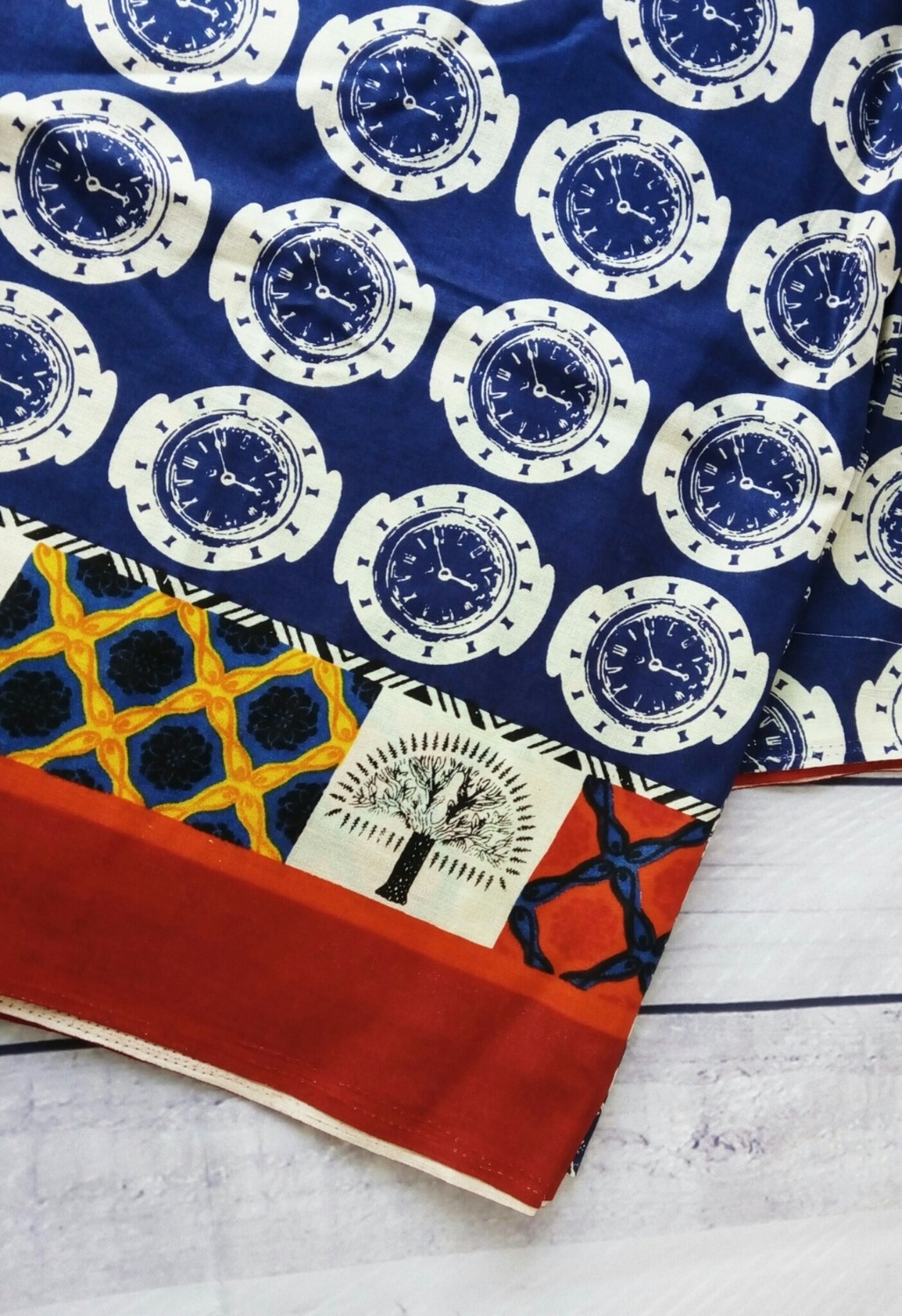 Indigo Watch Print - Indian cotton Fabric , fabric with border, Half Meter