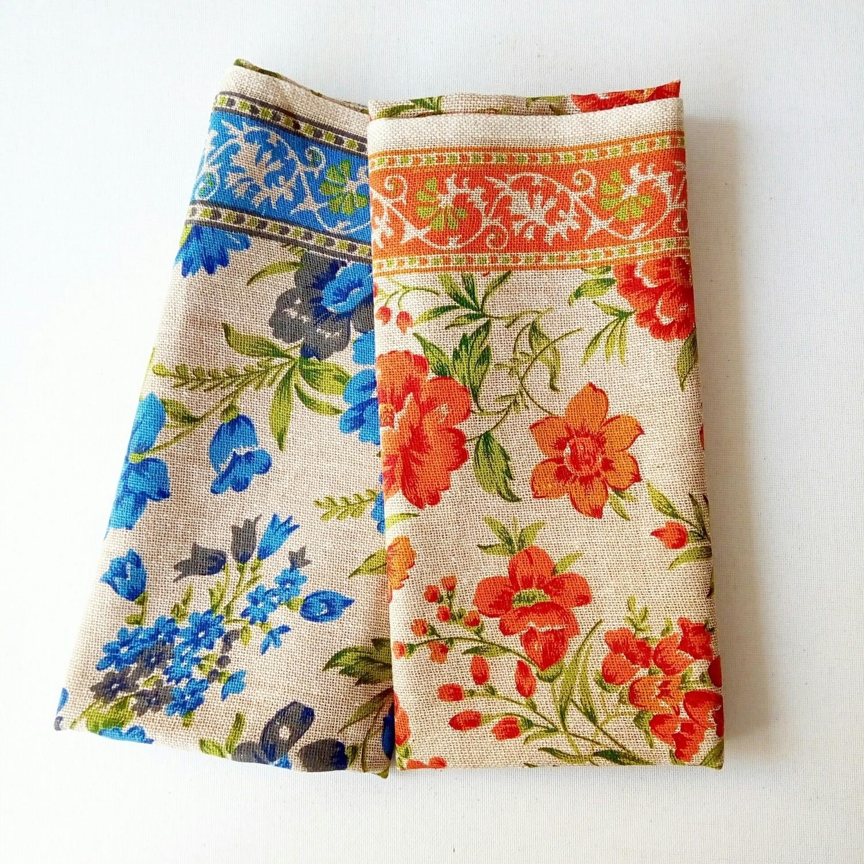 printed Jute burlap pansies flower print