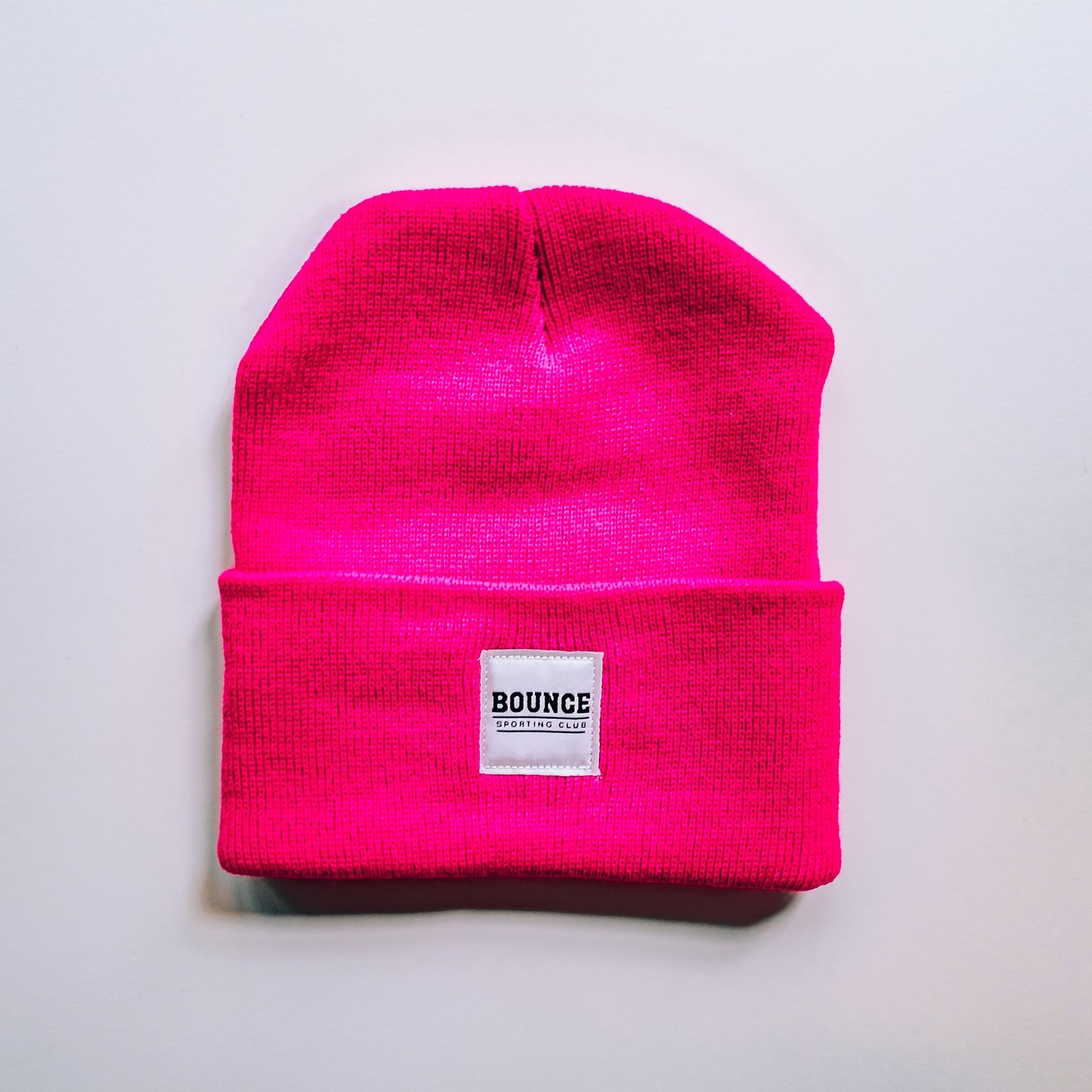 Bounce Patchwork Beanie - Neon Pink