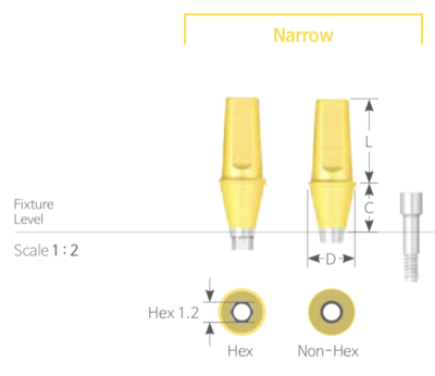 Bont Cimentabil Drept Narrow Non-HEX [Cemented Abutment Narrow Non-Hex]