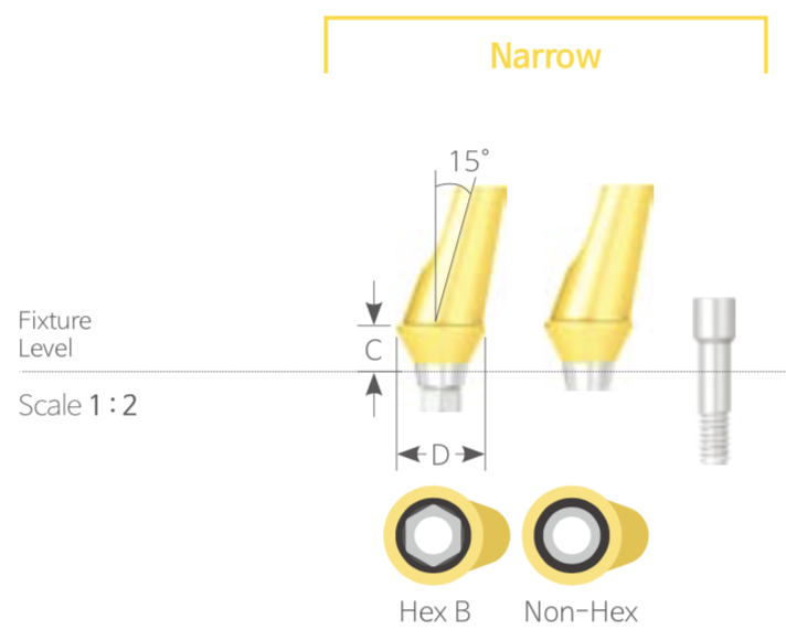 Bont Angulat Cimentabil Narrow HEX [Angled Abutment]