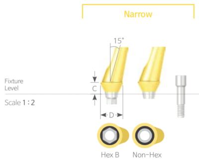 Bont Angulat Cimentabil Narrow Non-HEX [Cemented Angled Abutment Non-HEX]