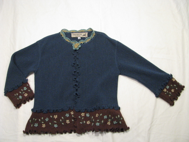 Kids Cardigan Sweater, with crochet trim