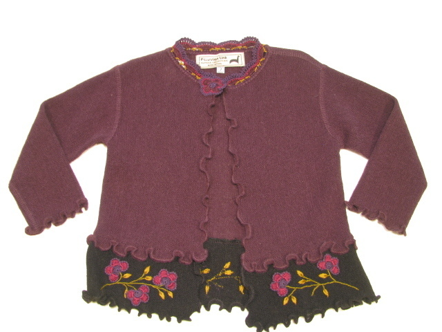 Child's Cardigan with Floral Trim