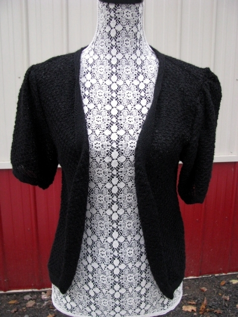 Short-Sleeved Cardigan - small, black