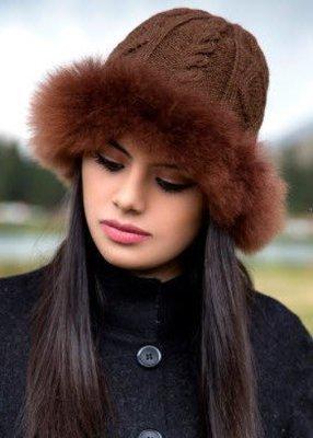Alpaca Fur Trimmed Hat, Brown