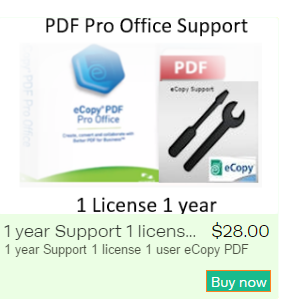 eCopy PDF Pro Office 1 license 1 user 1 year of support